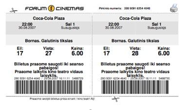 """Forum Cinemas"" e-bilieto pavyzdys"